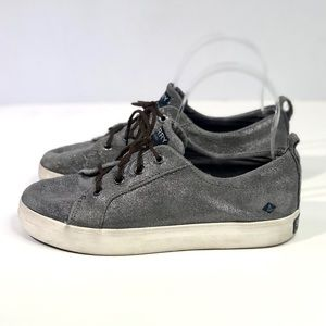 Sperry metallic silver suede lace-up sneakers 6